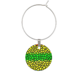 colorful abstract  stained glass wine charm