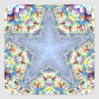 Colorful Abstract Star Square Sticker
