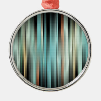 Colorful Abstract Stripes Metal Ornament