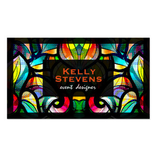 Colorful Abstract Swirls Stained Glass Look 2 Business Card Template