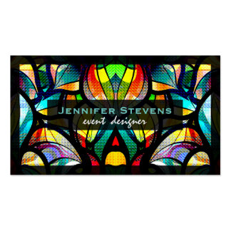 Colorful Abstract Swirls Stained Glass Look 2 Business Card
