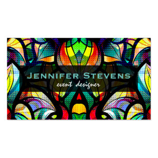 Colorful Abstract Swirls Stained Glass Look 2a Business Card Templates