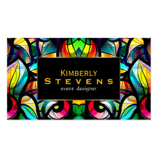 Colorful Abstract Swirls Stained Glass Look 2b Business Card Template