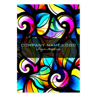 Colorful Abstract Swirls-Stained Glass Look Business Card Templates