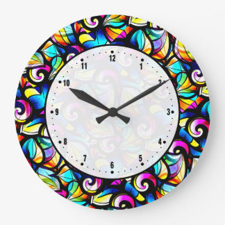 Colorful Abstract Swirls Stained Glass Look Large Clock