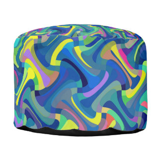 Colorful Abstract Texture Pattern Pouf