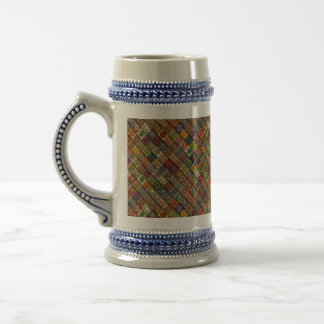 Colorful abstract tile pattern design beer stein
