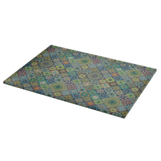 Colorful abstract tile pattern design cutting board
