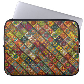 Colorful abstract tile pattern design laptop computer sleeves