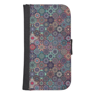 Colorful abstract tile pattern design samsung s4 wallet case