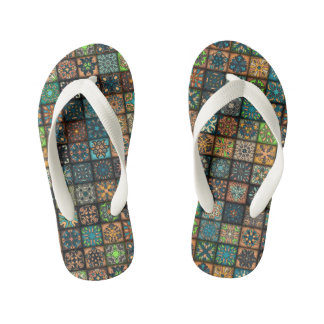 Colorful abstract tile pattern design thongs