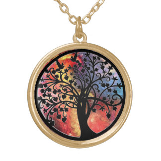 colorful abstract tree of life necklace