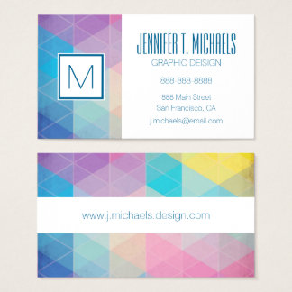 Colorful abstract triangles background business card