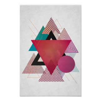 Colorful abstract triangles poster