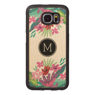 Colorful Abstract Tropical Cute Floral Design Wood Phone Case