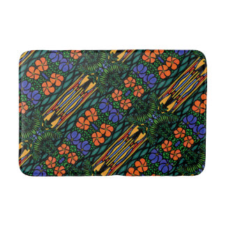 Colorful Abstract Tropical Pattern Bath Mat