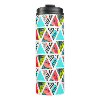 Colorful Abstract Tropical Pattern Thermal Tumbler