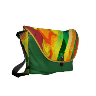 Colorful Abstract Urban Grunge Circles & Stripes Messenger Bag
