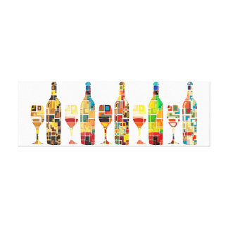 Colorful Abstract Watercolor of  Bottles & Glasses Canvas Print