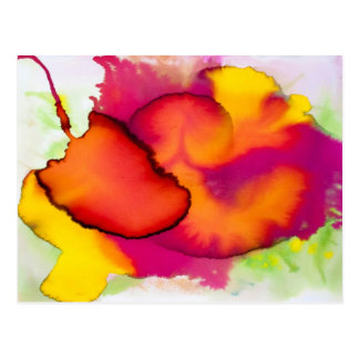 Colorful Abstract Watercolor Painting Postcard