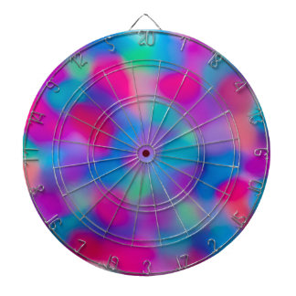 Colorful abstract watercolors pattern dart boards