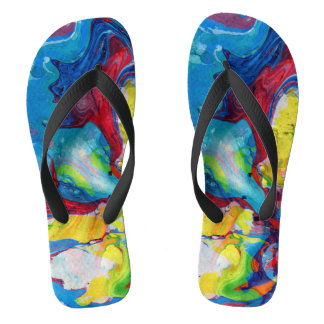 Colorful abstract wiled swirls thongs