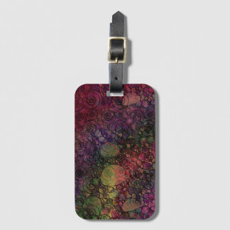 Colorful Abstract with Black & Grungy Circles Bag Tag