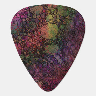 Colorful Abstract with Black & Grungy Circles Guitar Pick
