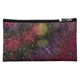 Colorful Abstract with Black & Grungy Circles Makeup Bag