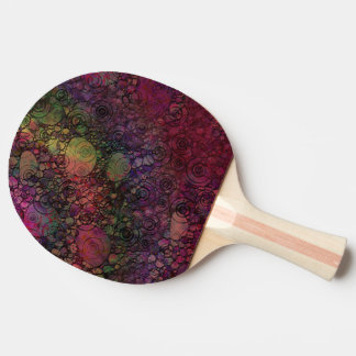 Colorful Abstract with Black & Grungy Circles Ping Pong Paddle