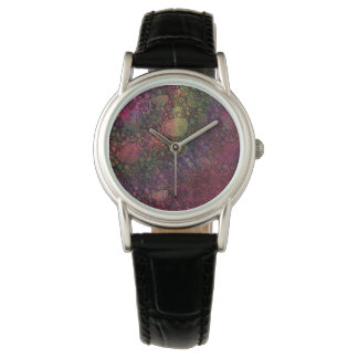 Colorful Abstract with Black & Grungy Circles Watch