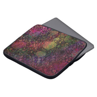 Colorful abstract with grungy circles laptop sleeve