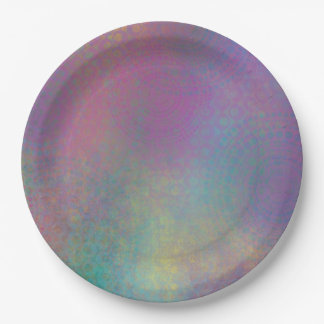 Colorful Abstract with Patterns & Grungy Texture Paper Plate
