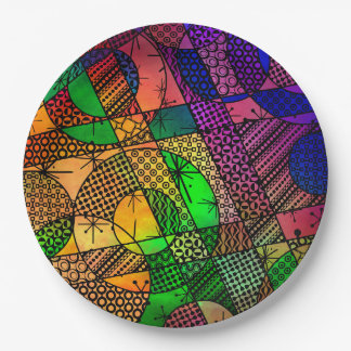 Colorful Abstract with Textures & Patterns Paper Plate