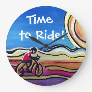 Colorful acrylic cyclist large clock