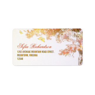 colorful address labels with tree