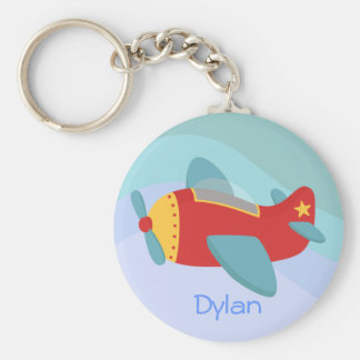 Colorful & Adorable Cartoon Aeroplane Basic Round Button Key Ring