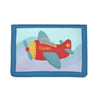 Colorful & Adorable Cartoon Aeroplane Tri-fold Wallets