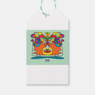 colorful african faces design gift tags
