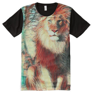Colorful African Lion Wildlife Art All-Over Print T-Shirt
