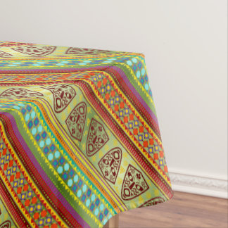 Colorful African Mask Stripe Pattern Tablecloth