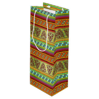Colorful African Masks Stripe Kente Pattern Wine Gift Bag