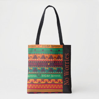 Colorful African No Worries Typography Tote Bag