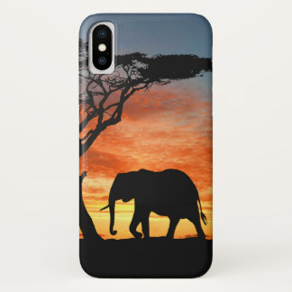 Colorful African Safari Sunset Elephant Silhouette iPhone X Case