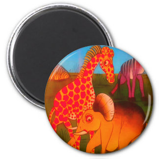 Colorful  African wild animal safari colors 6 Cm Round Magnet