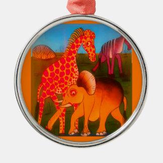 Colorful  African wild animal safari colors Metal Ornament