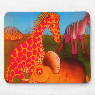 Colorful  African wild animal safari colors Mouse Pad