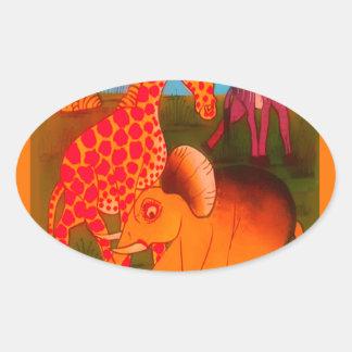 Colorful  African wild animal safari colors Oval Sticker