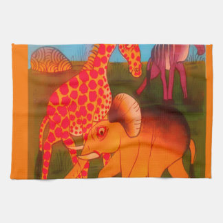 Colorful  African wild animal safari colors Tea Towel