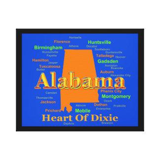 Colorful Alabama State Pride Map Canvas Prints